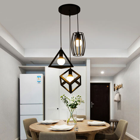 Creative Geometric Shape Cube Triangle Round Adjustable Lamp 3 Lights Vintage Hanging Light Industrial Pendant Lamp Fixture for Kitchen Farmhouse Hallway Indoor Black