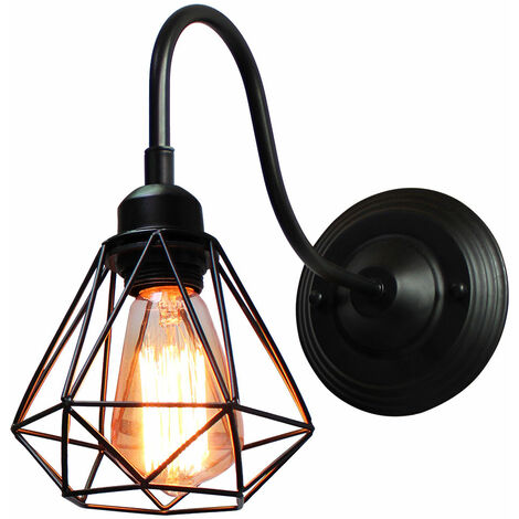 Creative Industrial Wall Lamp Vintage Cage Ceiling Light Retro Diamond Wall Sconce (Black)