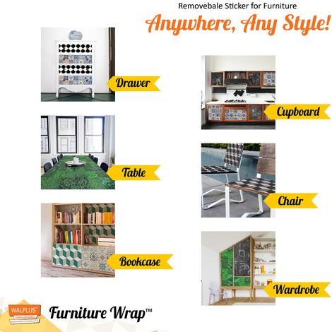 Creative Kit: Vintage Green Tiles and Blackboard Self-Adhesive Furniture Wrap