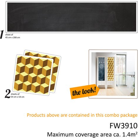 Diamond Geometry and Blackboard Self-Adhesive Furniture Wrap diy Creative Kit