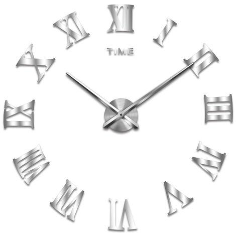 Creative Large Mirror Acrylic DIY Wall Wall Clock Roman Living Room Living Room Wallroom Sticker Clock All Silver