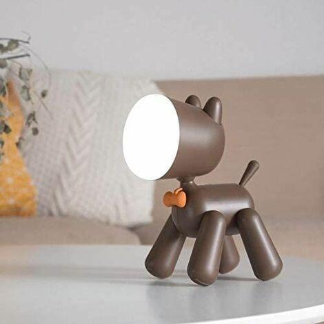 Creative LED Desk Lamp Puppy Light Night Lamp LED Desk Lamp USB Billable Desk Dog Light Puppy Shape Cute Kids Night Lamp (Body Color: BW)