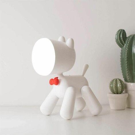 Creative LED Desk Lamp Puppy Light Night Lamp LED Desk Lamp USB Billable Desk Dog Light Puppy Shape Cute Kids Night Lamp (Body Color: WH)