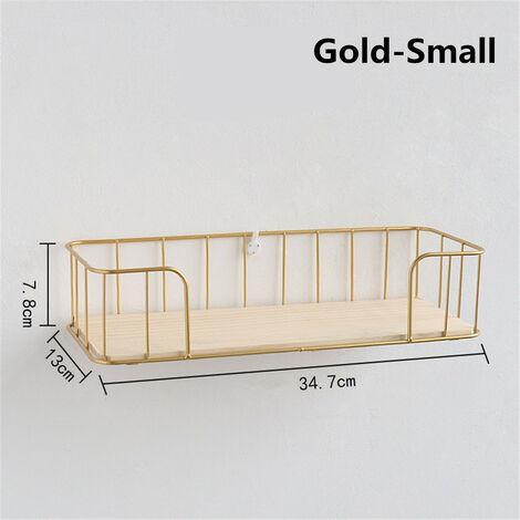 Creative Metal Wire Wood Wall Shelf Modern Loft Dorm Storage Rack Room Decor golden Small 34.7*13*7.8cm