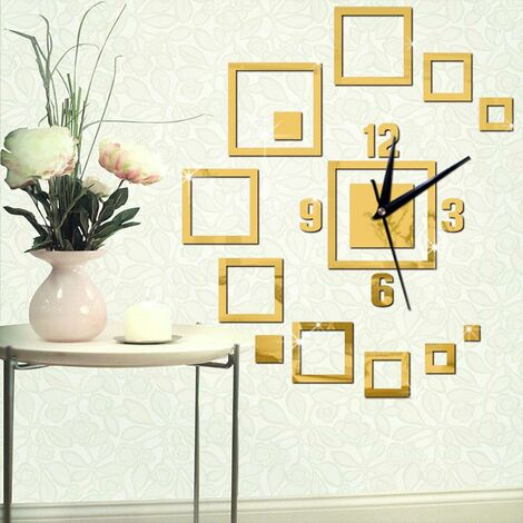 Creative Mirror Wall Clock Square Mirror Clock 3D Acrylic Living Room Wall Clock Suitable for Smooth Living Room / Kids Room / Dining Room Walls (Gold)