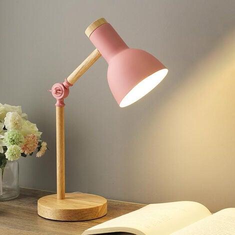 Creative Nordic Wooden Art Iron LED Folding Simple Desk Lamp Eye Protection Reading Table Lamp Living Room Bedroom Home Decor Pink- white light