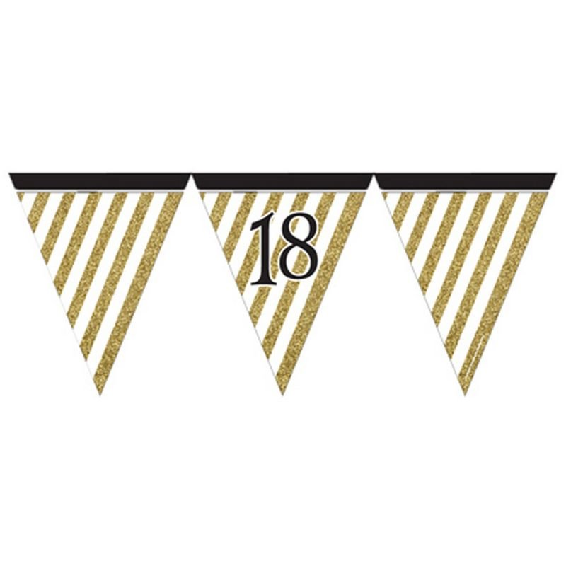 Image of 18 Black And Gold Paper Flag Bunting (12 feet) (Gold) - Creative Party
