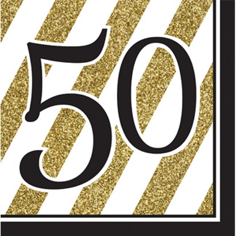 Image of 50 Black And Gold 2 Ply Lunch Napkins (Pack Of 16) (13in) (Black/Gold) - Creative Party