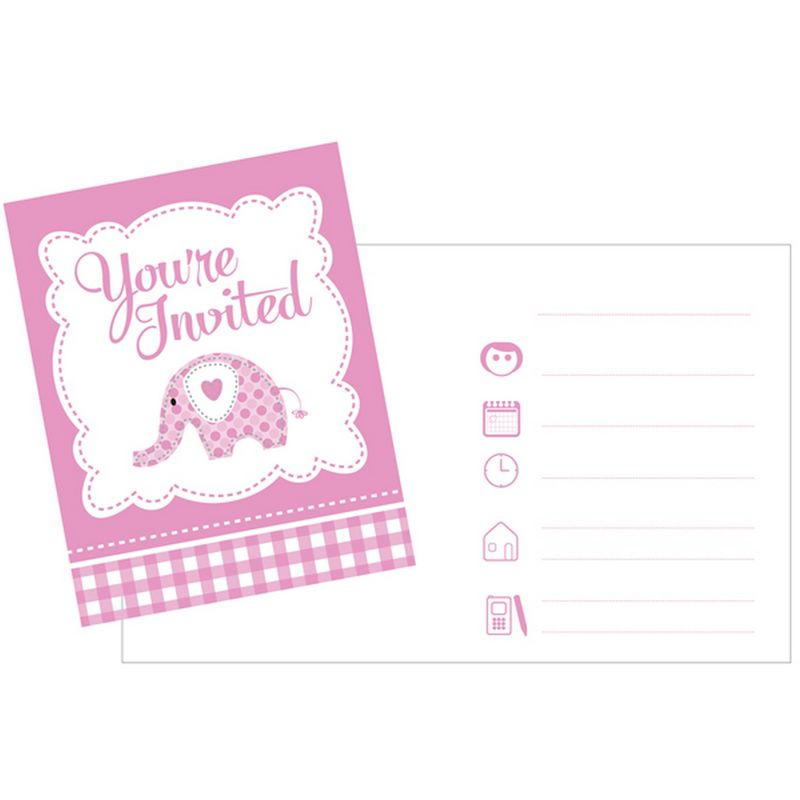 Image of Baby Sweet Elephant Invitations (Pack Of 8) (One Size) (Pink/White) - Creative Party