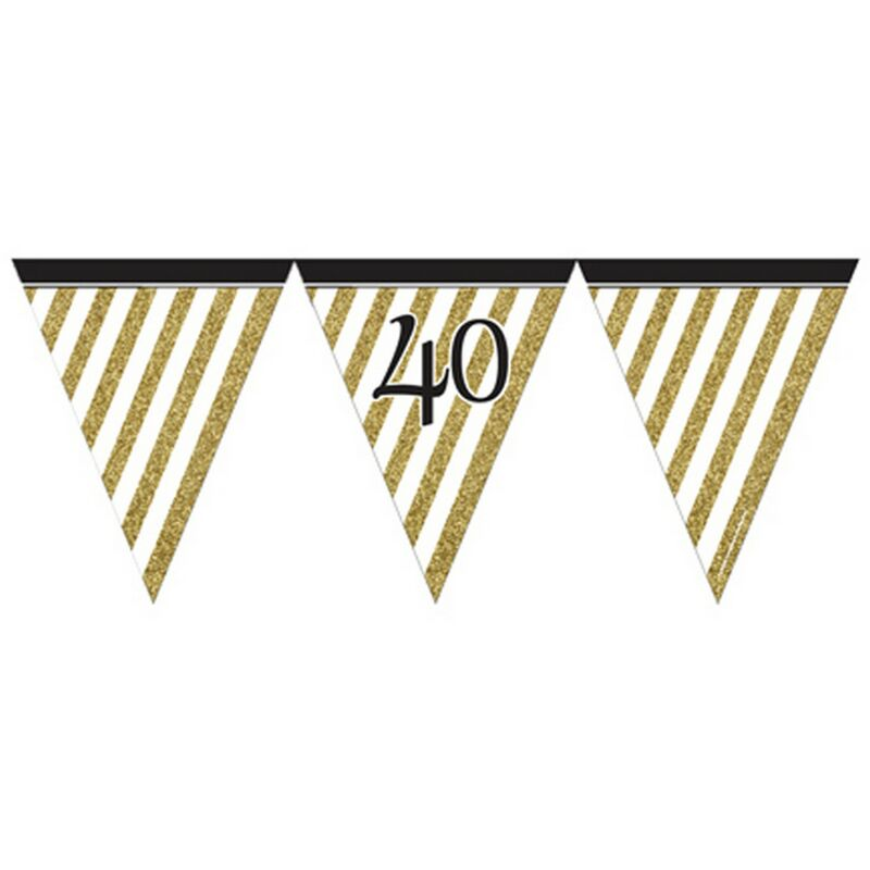 Image of Black And Gold Milestone Paper Flag Bunting (40) (Black/Gold) - Creative Party