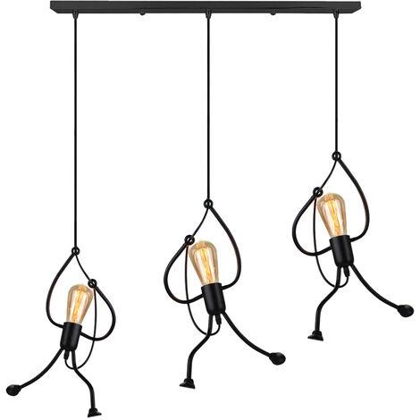 Creative Pendant Light 3 Lights Pendant Lamp Black Metal Iron Pendant Lamp Cartoon Ceiling Lamp Humanoid Design Hanging Light