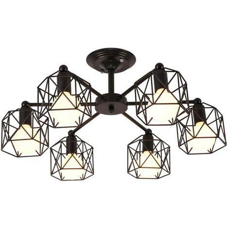 Creative Retro Ceiling Lamp Hexagon Geometry Chandelier Metal Cage Pendant Light for Living Room Bedroom Black(6 Heads)