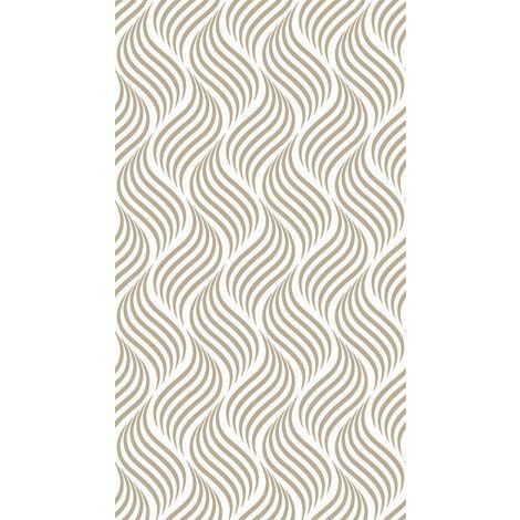 Creative, rideau imprimé vaguelettes et rayures marrons clair 140x245 cm, 1 part