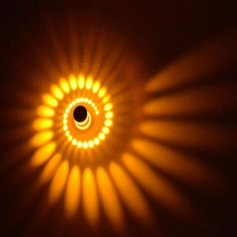 Creative Spiral Ceiling Light Round Modern Chandelier LED Simple Wall Light for Bedroom Cafe Living room 3w Yellow Light