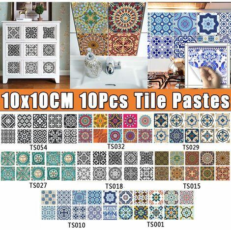 """main image of """"Creative Tile Paste Cuisine Salle De Bains Décoration De Sol Stickers Muraux Autocollants Antidérapants Imperméables (Type F 10PCS (10x10cm))"""""""