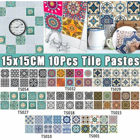 """main image of """"Creative Tile Paste Cuisine Salle De Bains Décoration De Sol Stickers Muraux Autocollants Imperméables Antidérapants (10PCS TypeH (15x15cm))"""""""