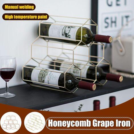 Creative Triangle 6 Bottles Wine Storage Rack Kitchen Bar Cabinets (Gold, Honeycomb 6 Bottles)