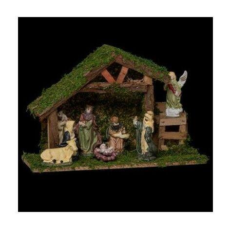 Crèche de Noël avec 8 santons - L 31.5 cm x l 12.5 cm - Porcelaine - Livraison gratuite