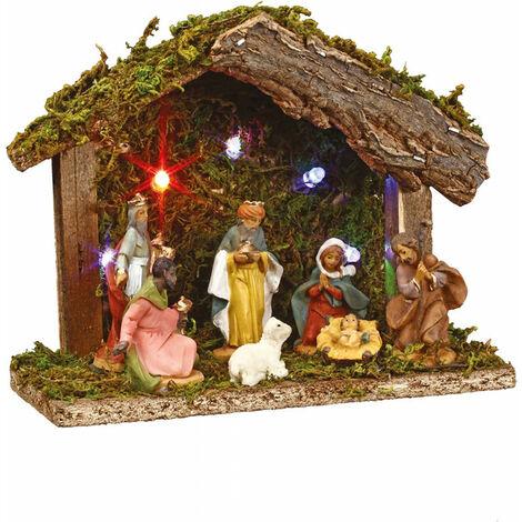 Crèche de Noël lumineuse - 7 santons - L 18 cm x l 8 cm - Bois - Livraison gratuite