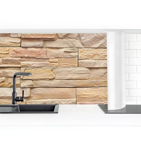Crédence adhésive - Asian Stonewall - Big Bright Stone Wall From Homely Stones