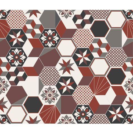 Crédence adhésive carreaux en aluminium Exa - L. 20 x l. 20 cm - Rouge - Rouge