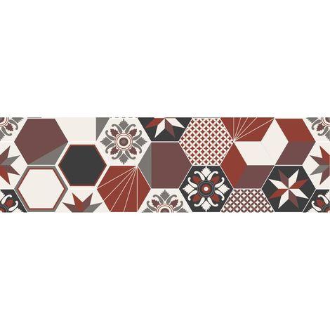 Crédence adhésive carreaux en aluminium Exa - L. 20 x l. 90 cm - Rouge - Rouge