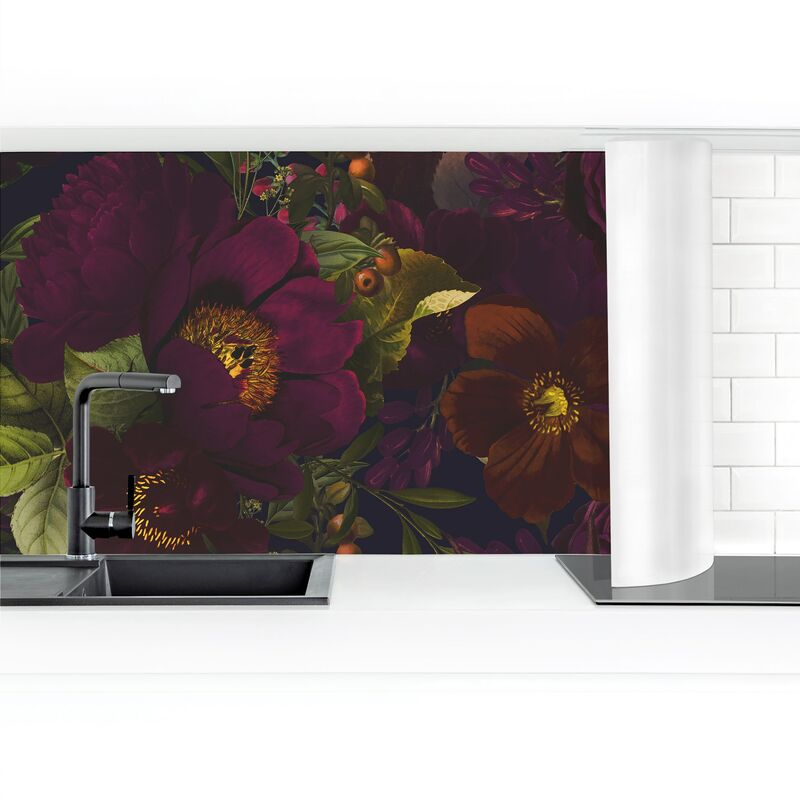 Crédence adhésive - Dark Purple Flowers Dimension: 80x400cm Matériel: Magnetique