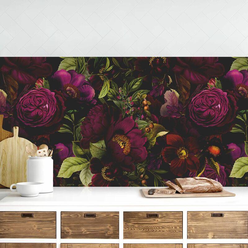 Crédence adhésive - Dark Purple Flowers Dimension: 100x350cm Matériel: Magnetisch