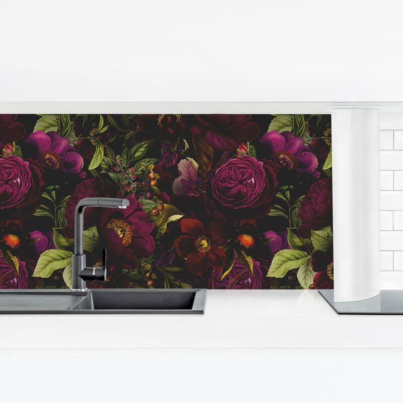 Crédence adhésive - Dark Purple Flowers Dimension: 60x210cm Matériel: Smart