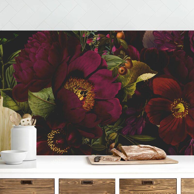 Crédence adhésive - Dark Purple Flowers Dimension: 100x400cm Matériel: Magnetisch