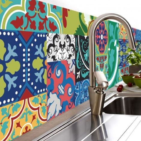 Crédence adhésive design en PVC Jade - L. 200 x l. 40 cm - Multicolore - Vert