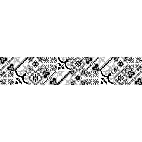 Crédence adhésive design en PVC Milan - L. 200 x l. 40 cm - Noir - Noir