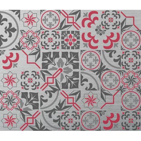 Crédence adhésive en alu Carreaux de ciment - L. 70 x l. 60 cm - Gris - Gris