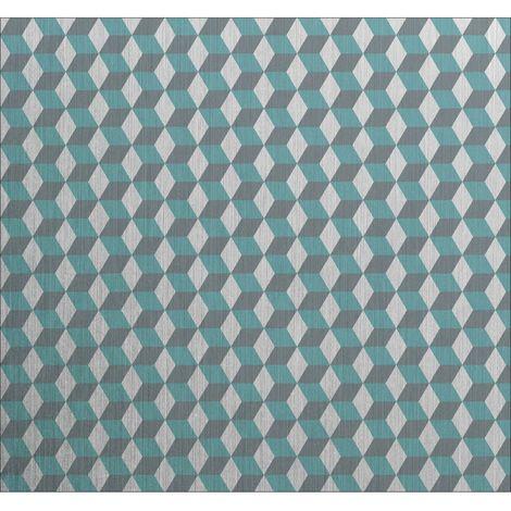 Crédence adhésive en alu Cube - L. 70 x l. 60 cm - Gris - Bleu