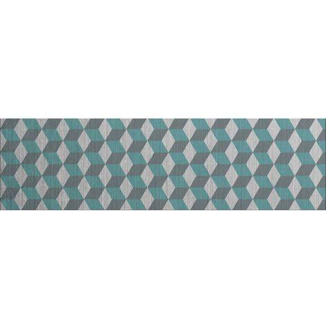 Crédence adhésive en alu Cube - L. 90 x l. 20 cm - Gris - Bleu