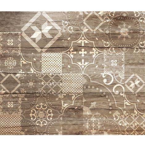 Crédence adhésive en alu imitation Bois - L. 20 x l. 20 cm - Marron - Marron