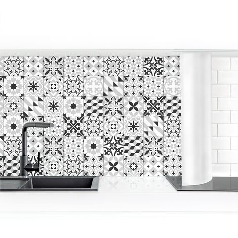 Crédence adhésive - Geometric Tiles Mix Black