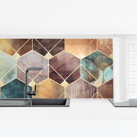 Crédence adhésive - Turquoise Geometry Golden Art Deco