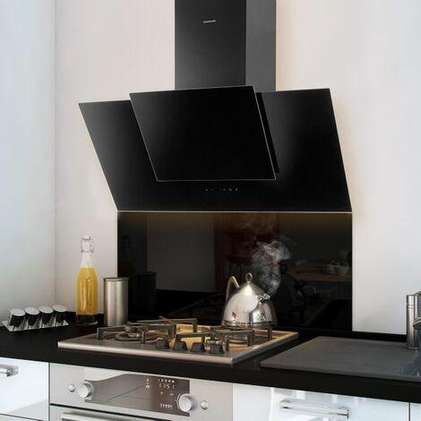 Crédence cuisine fond de hotte verre brillant - Noir - Hauteur 50cm