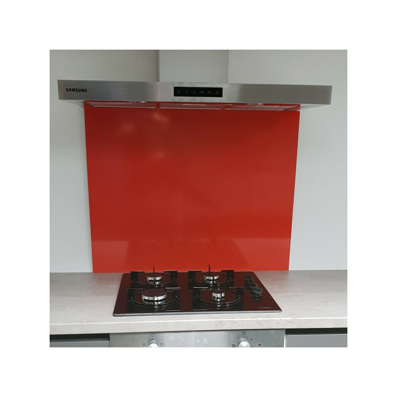 Fond de Hotte / Crédence Rouge RAL 3020 -H 70 cm x L 90 cm de 1,5mm