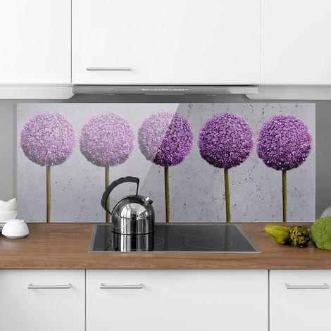 Crédence en verre - Allium Ball Flower - Panorama Dimension: 50cm x 125cm
