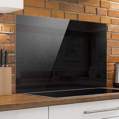 Crédence en verre - Colour Black - Paysage 2:3 Dimension: 59cm x 90cm