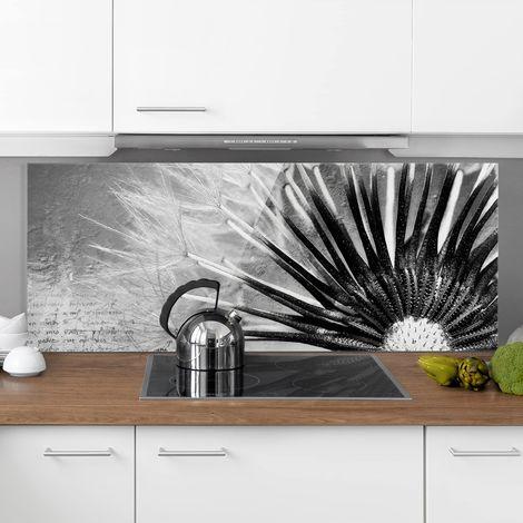 Crédence en verre - Dandelion Black & White - Panorama Dimension: 50cm x 125cm