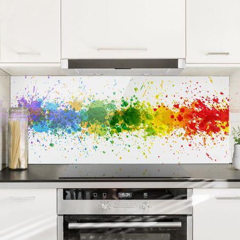 Crédence en verre - Rainbow Splatter - Panorama Dimension: 50cm x 125cm