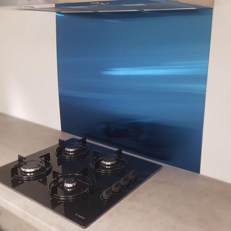 Crédence Inox Brossé Bleu 0,8mm - Hauteur 45 cm x Largeur 60 cm