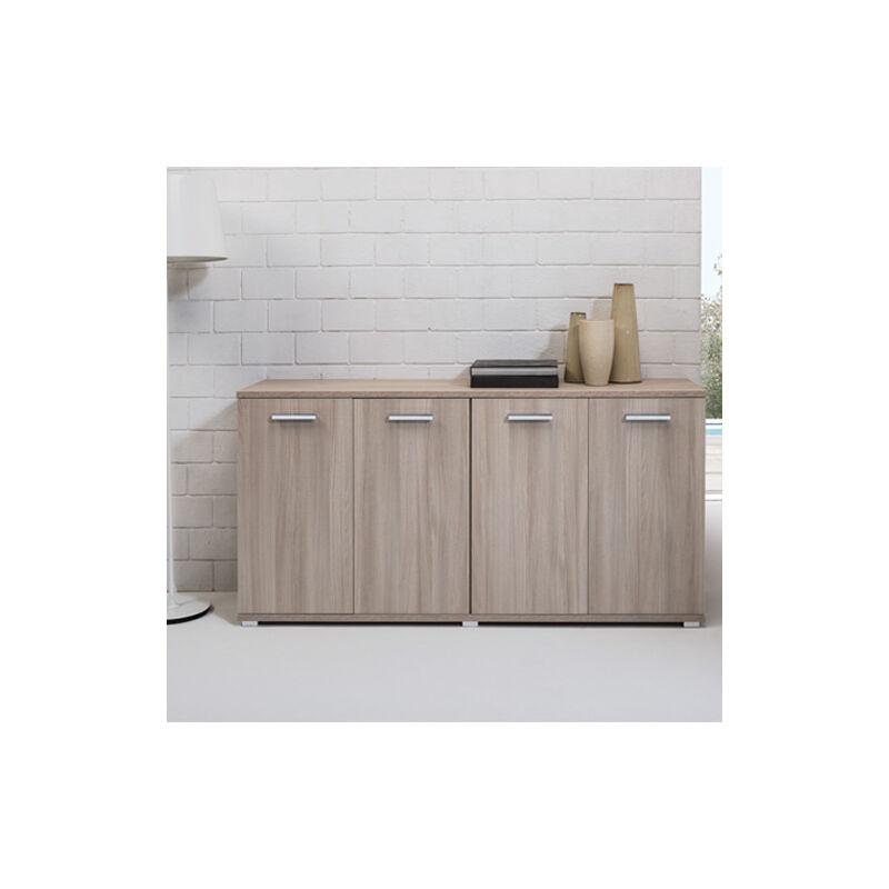 Credenza buffet cucina 80x180x45 cm. Mobile multiuso 180 cm olmo con 4 ante, ideale in soggiorno e sala da pranzo. - PIDEMA