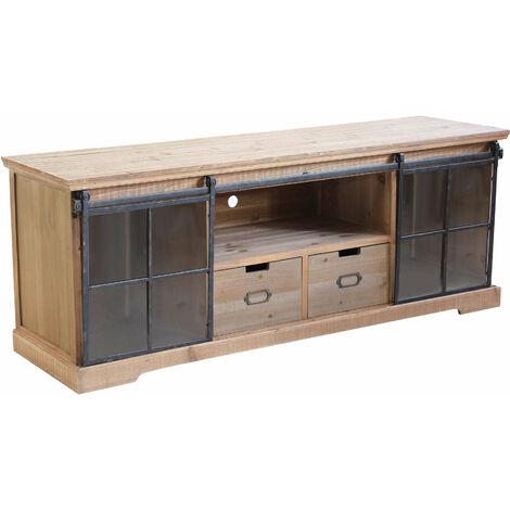 Credenza in legno spaziosa grande con cassetti madia moderna industrial per  arredamento soggiorno, sala da pranzo, salotto , cm 160 x 45,5 x 60 h