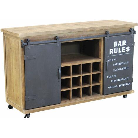 Credenza in metallo e legno industrial mobile madia con porta bottiglie di  vino per arredamento soggiorno, sala da pranzo, salotto moderna, cm 123 x  ...