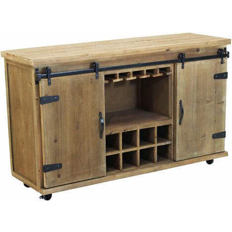 Credenza in metallo e legno industrial mobile madia con portabottiglie di  vino per arredamento soggiorno, sala da pranzo, salotto moderna, cm 123 x  41 ...