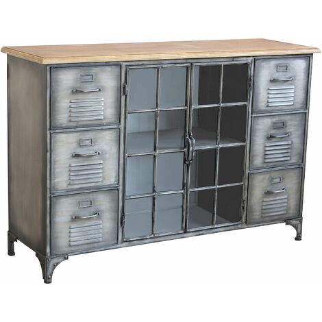 Credenza in metallo ferro industrial mobile madia per arredamento  soggiorno, sala da pranzo, salotto industriale , cm 124,5 x 40,5 x 83 h